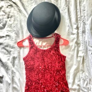 Other - Red Sparkly Jazz Tank Top and Black Jazz Hat